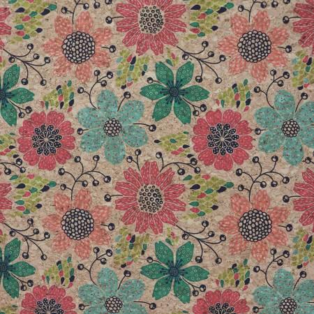 Doodle Floral 1/2 Yard Cork