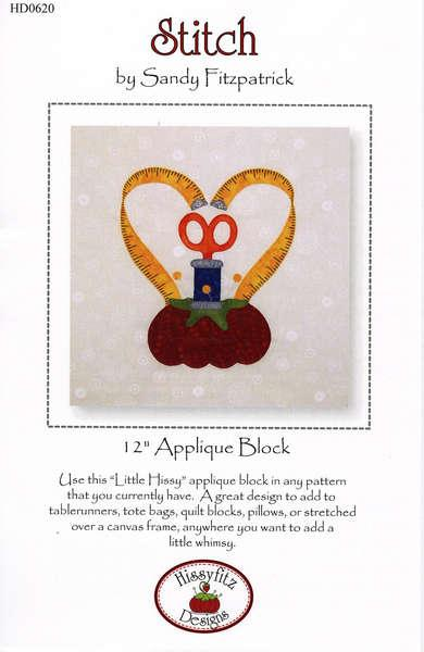 Pattern: Stitch - Sewing Themed Applique Block by Hissyfitz Design