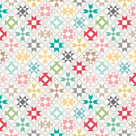 My Happy Place Home Dec Quilt Blocks Cream 57/58 HD9314