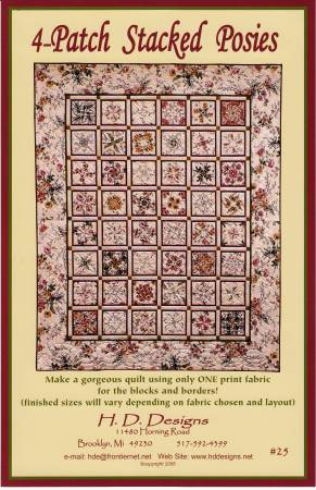 4 Patch Stacked Posies Quilt Pattern