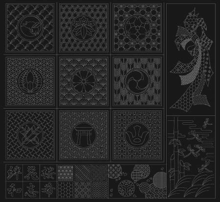 Wagara Sashiko Panel Selection Black