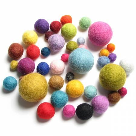 Wool Felt Balls Med-ley Pack - Mix 40pc