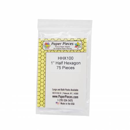 Paper Piece Half Hexagon Pack 1in 75pc