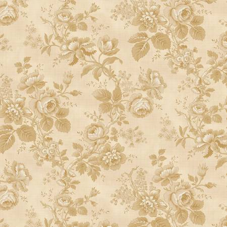 Tan Roses Historical Reproduction 108in Wide Back