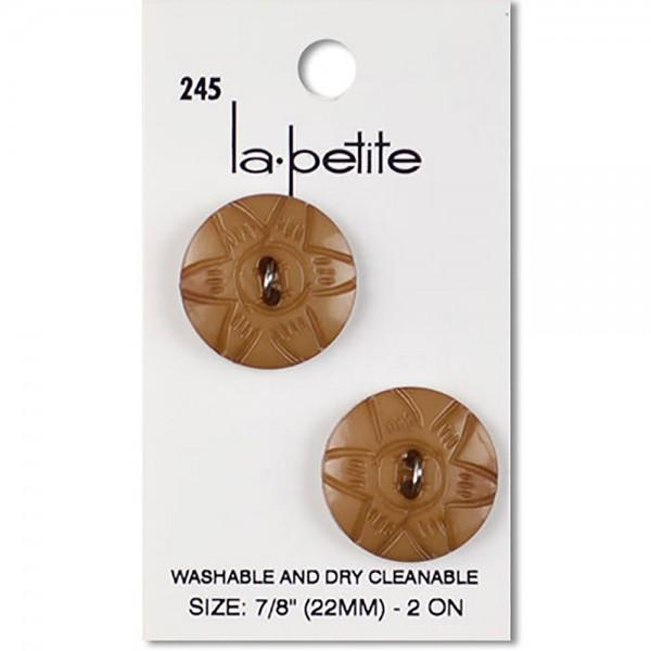 2 Hole LaPetite Button Tan Round 7/8in 2ct