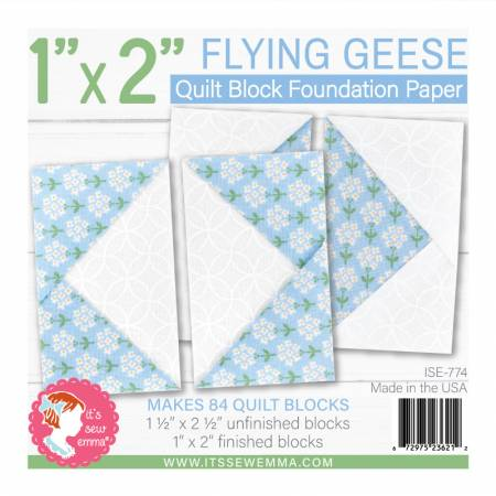 1in x 2in Flying Geese Quilt Block Foundation Paper