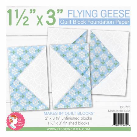 1.5in x 3in Flying Geese Quilt Block Foundation Paper