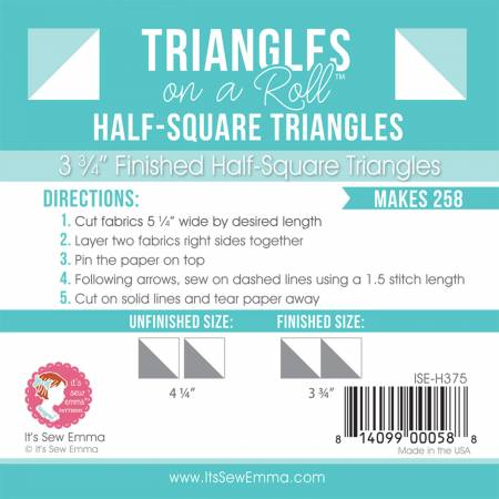 Triangles on a Roll ~ 3.75 Half Square