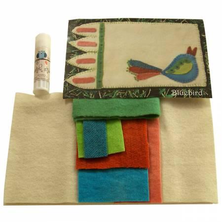Mug Rug Wool Bluebird Kit