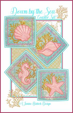 Down by the Sea Coaster Set, Machine Quilting