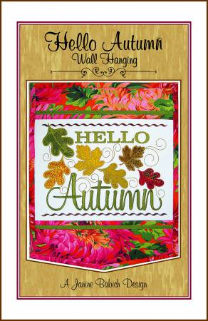 Hello Autumn Wall Hanging Machine Embroidery Design by Janine Babich  JBDHELLO3
