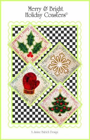 CD Merry & Bright Holiday Coasters Machine Embroidery