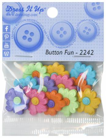 Colorful Flower 10ct Button Pack