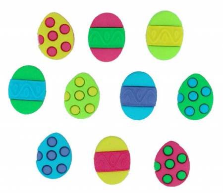 Easter Painted Eggs 10ct Button Pack - 3500