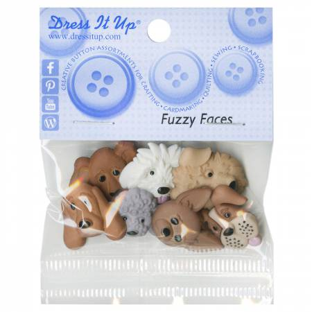 Fuzzy Faces 7ct Button Pack