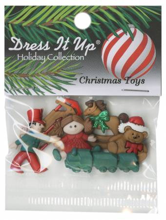 Christmas Toys Button Pack 6pcs