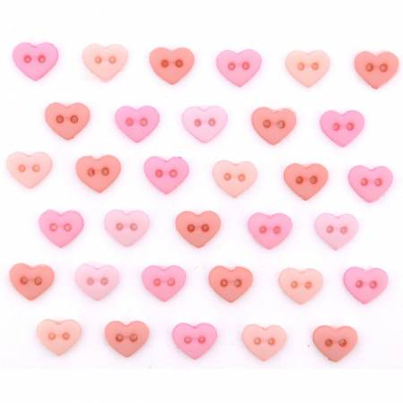 Micro Mini Heart  Buttons - Rose 9533