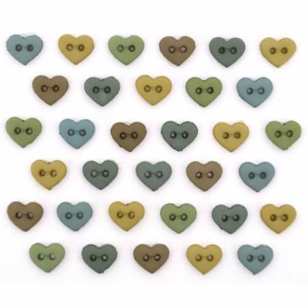 Micro Mini Heart  Buttons Earthtones - 9536