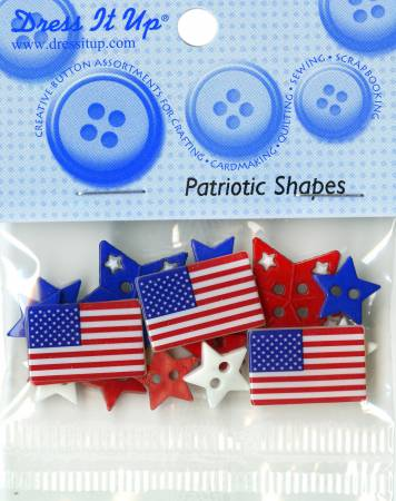 Patriotic Shapes Button Pack 15ct