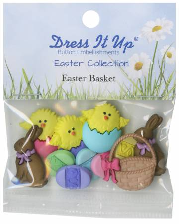 Easter Basket 11ct Button Pack - 1302
