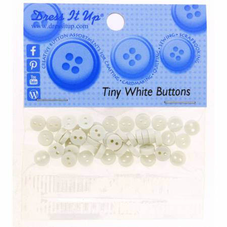 Tiny Round Buttons - White - 1556