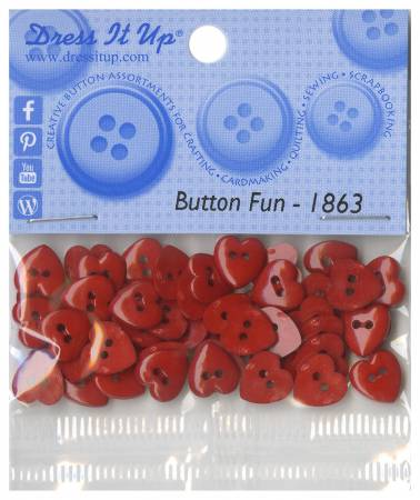 Tiny Red Hearts Button Pack - 40ct - 1863