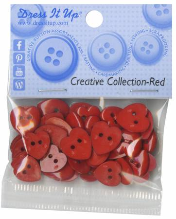 Red Hearts Button Pack -242