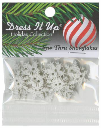 Sew Thru Snowflakes Button Pack 16pcs