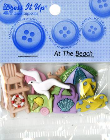 At The Beach Button Pack 6ct - 412