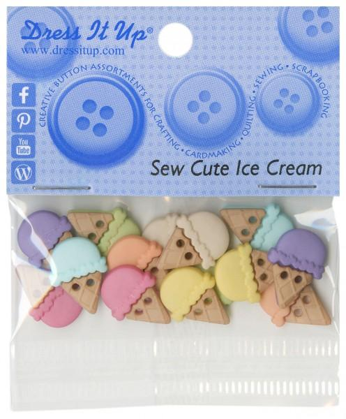 Sew Cute Ice Cream 14ct Button Pack