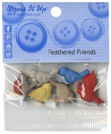 Feathered Friends 6ct Button Pack - 6956