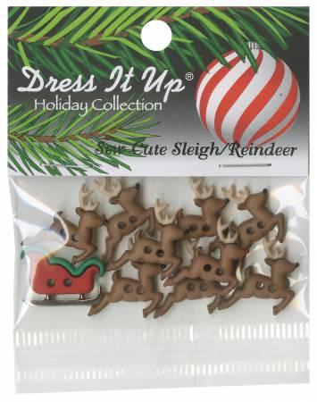 Sew Cute Sleigh Reindeer 11ct Button Pack