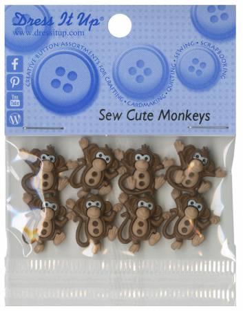 Sew Cute Monkeys Button Pack - 7678