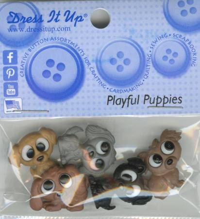 Playful Puppies Button Pack - 7687