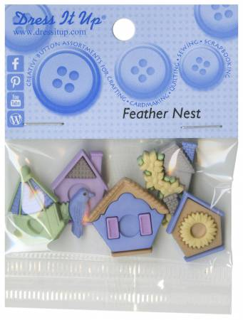 Feather Nest 5ct Button Pack