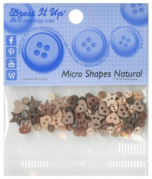 Micro Mini Shapes Button Pack - Natural - 7701