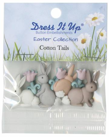 Easter Cotton Tails 7ct Button Pack - 7705