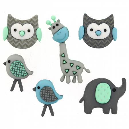 N- Button Pack Jungle Baby 6pc