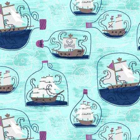 Kraken - Ship in a Bottle - Sea Glass