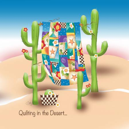 Quilting in the Desert Fabric Art Panel