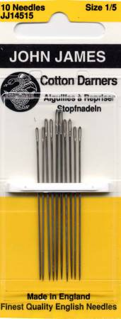 John James Cotton Darners Needles Assorted Sizes 1/5 10ct