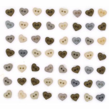 Micro Mini Hearts Button Pack - Vintage Linen - 8321