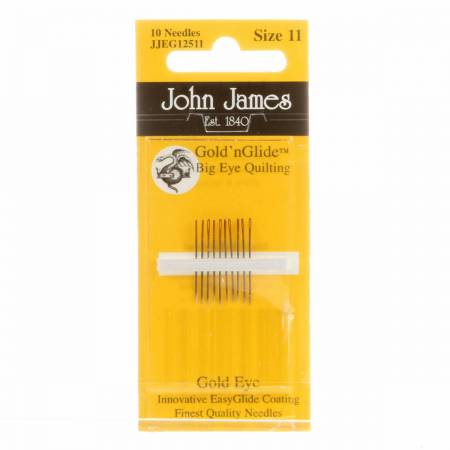 John James Gold'N Glide Big Eye Between / Quilting Needles Size 11 10ct