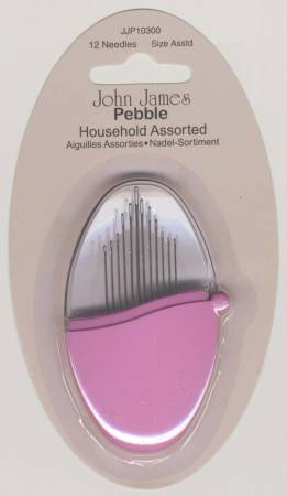 John James Pebbles Household Needles Assorted Sizes 12ct Vivacious Pink
