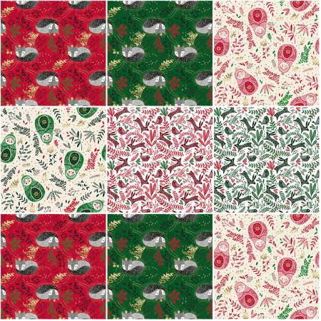 10in Squares Winter Dreams Red & Green, 42pcs