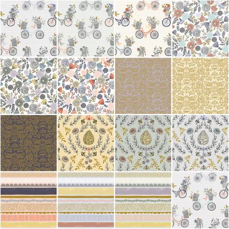 5in Squares Summer in the Cotswolds, 42pcs, 4 bundles/pack