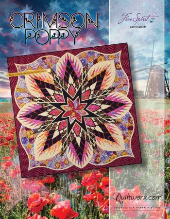 Crimson Poppy Foundation Paper Piecing Pattern - Judy Niemeyer