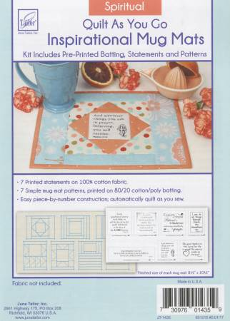 7 Spirtual Quilt As You Go Daily Inspirational Mug Mats Kit, fabric not included