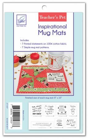 Pre-Printed Fabric Inspirational Mug Mats Teachers Pet