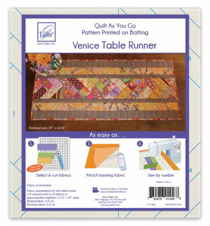 Quilt As You Go -Table Runner Venice Pattern